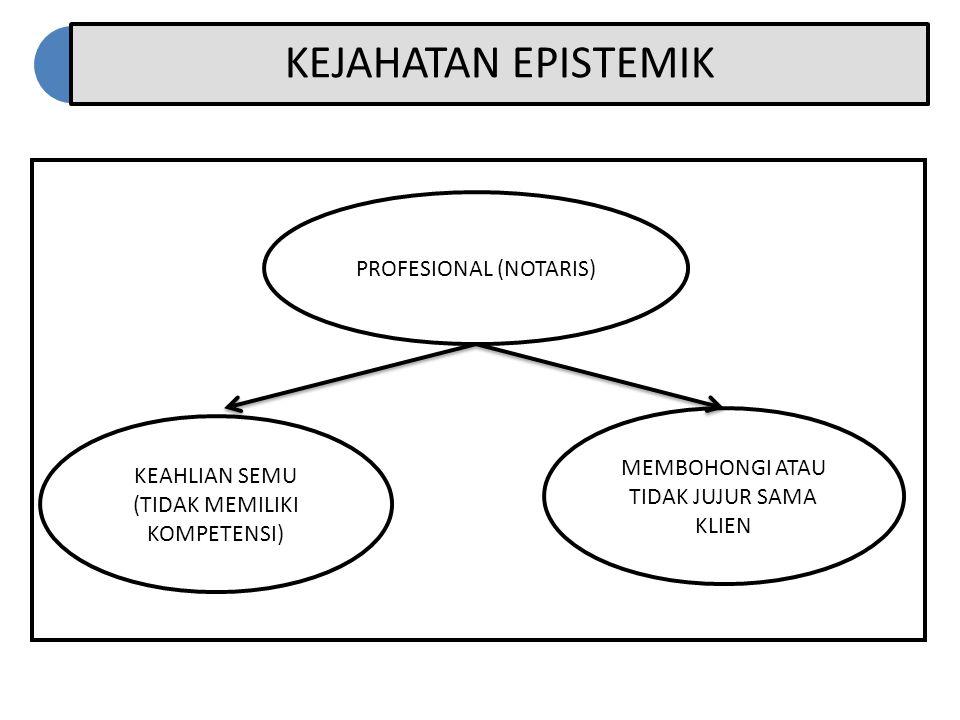 KEJAHATAN EPISTEMIK KEAHLIAN SEMU (TIDAK MEMILIKI KOMPETENSI) MEMBOHONGI ATAU TIDAK JUJUR SAMA KLIEN PROFESIONAL (NOTARIS)
