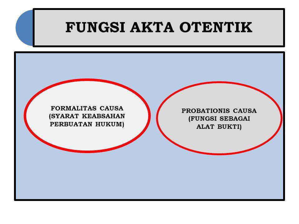 FUNGSI AKTA OTENTIK FORMALITAS CAUSA (SYARAT KEABSAHAN PERBUATAN HUKUM) PROBATIONIS CAUSA (FUNGSI SEBAGAI ALAT BUKTI)