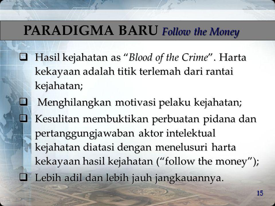 14 Kerugian Negara Jumlah kerugian negara akibat money laundering sangat besar, akan kurang lebih sebanding dengan suatu proceeds of crimes. –FATF: pe