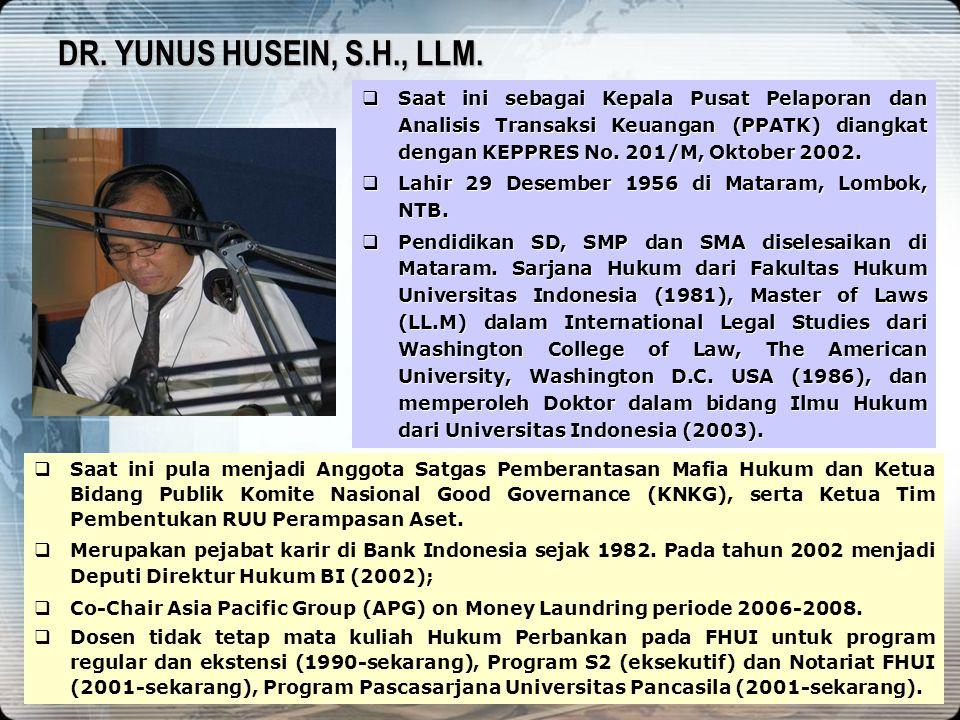 1 REZIM ANTI PENCUCIAN UANG DAN PEMBERANTASAN KORUPSI DI INDONESIA PUSAT PELAPORAN DAN ANALISIS TRANSAKSI KEUANGAN 11 MARET 2010 YUNUS HUSEIN KEPALA P
