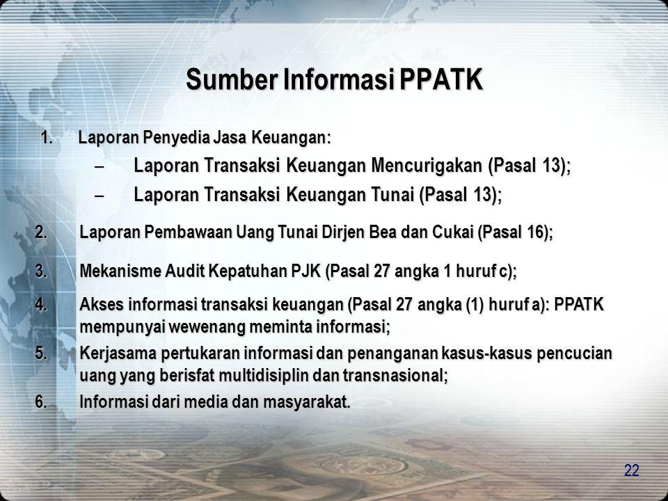 21  Meminta dan menerima laporan dari PJK  Meminta informasi mengenai perkembangan penyidikan/penuntutan  Melakukan audit terhadap PJK  Memberikan