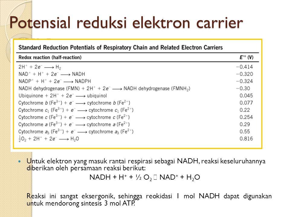 Potensial reduksi elektron carrier Untuk elektron yang masuk rantai respirasi sebagai NADH, reaksi keseluruhannya diberikan oleh persamaan reaksi beri