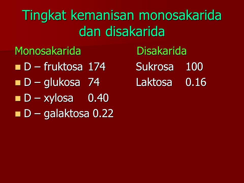 Tingkat kemanisan monosakarida dan disakarida MonosakaridaDisakarida D – fruktosa174 Sukrosa100 D – fruktosa174 Sukrosa100 D – glukosa74 Laktosa0.16 D – glukosa74 Laktosa0.16 D – xylosa0.40 D – xylosa0.40 D – galaktosa 0.22 D – galaktosa 0.22