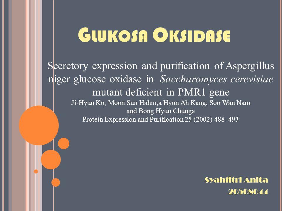 K ESIMPULAN Properti fisik dan efisiensi katalitik dari GOx-His6 mutan pmr1Δ hampir sama dengan GOx native dari A.