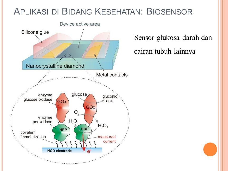 A PLIKASI DI B IDANG K ESEHATAN : B IOSENSOR Sensor glukosa darah dan cairan tubuh lainnya