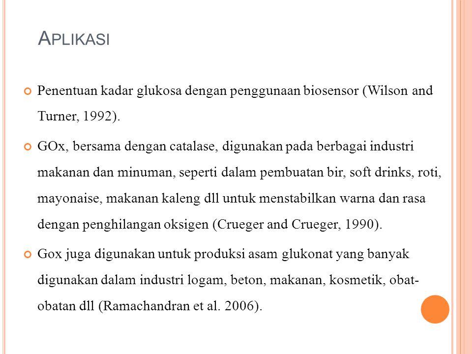 A PLIKASI Penentuan kadar glukosa dengan penggunaan biosensor (Wilson and Turner, 1992). GOx, bersama dengan catalase, digunakan pada berbagai industr