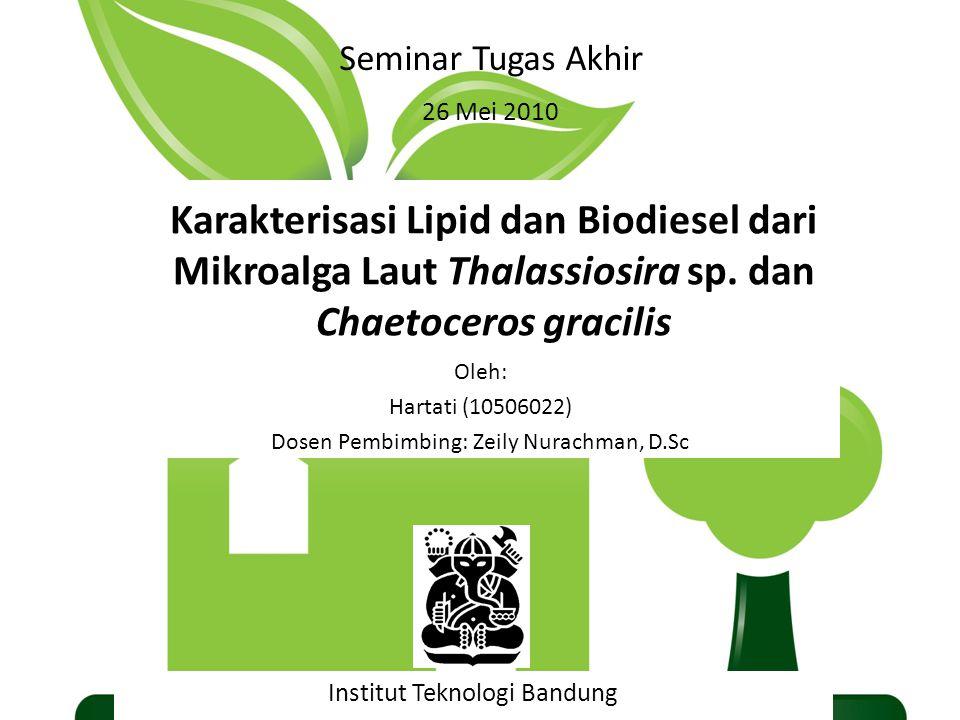 Karakterisasi Lipid dan Biodiesel dari Mikroalga Laut Thalassiosira sp. dan Chaetoceros gracilis Institut Teknologi Bandung 26 Mei 2010 Seminar Tugas