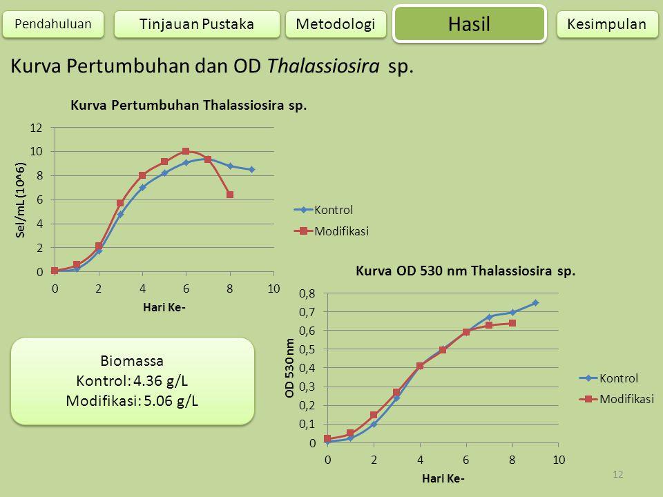 12 Kurva Pertumbuhan dan OD Thalassiosira sp. Hasil Pendahuluan Metodologi Kesimpulan Tinjauan Pustaka Biomassa Kontrol: 4.36 g/L Modifikasi: 5.06 g/L