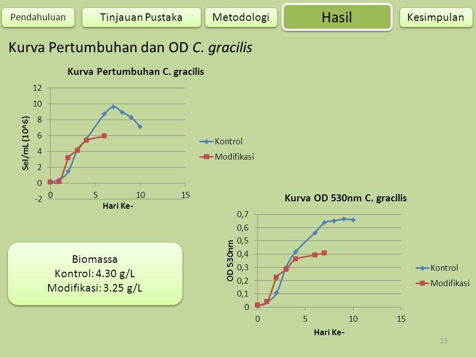 13 Hasil Pendahuluan Metodologi Kesimpulan Tinjauan Pustaka Kurva Pertumbuhan dan OD C. gracilis Biomassa Kontrol: 4.30 g/L Modifikasi: 3.25 g/L Bioma
