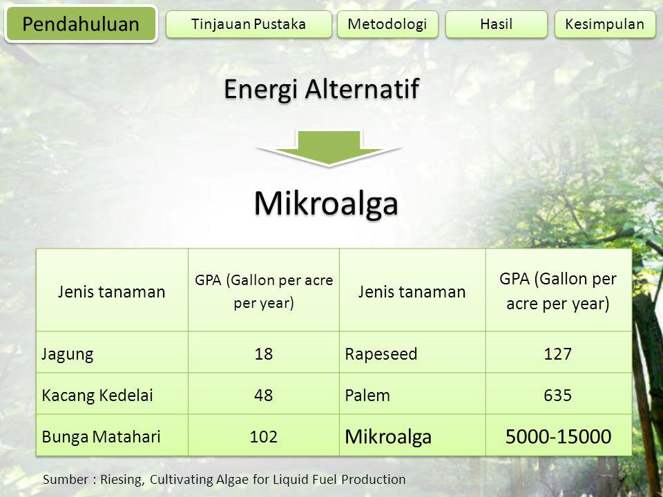 4 Sumber : Riesing, Cultivating Algae for Liquid Fuel Production Energi Alternatif Mikroalga Pendahuluan Tinjauan Pustaka Hasil Kesimpulan Metodologi
