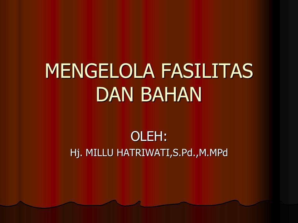 MENGELOLA FASILITAS DAN BAHAN OLEH: Hj. MILLU HATRIWATI,S.Pd.,M.MPd