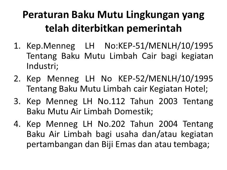 Peraturan Baku Mutu Lingkungan yang telah diterbitkan pemerintah 1.Kep.Menneg LH No:KEP-51/MENLH/10/1995 Tentang Baku Mutu Limbah Cair bagi kegiatan I
