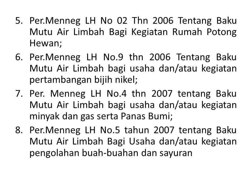 5.Per.Menneg LH No 02 Thn 2006 Tentang Baku Mutu Air Limbah Bagi Kegiatan Rumah Potong Hewan; 6.Per.Menneg LH No.9 thn 2006 Tentang Baku Mutu Air Limb