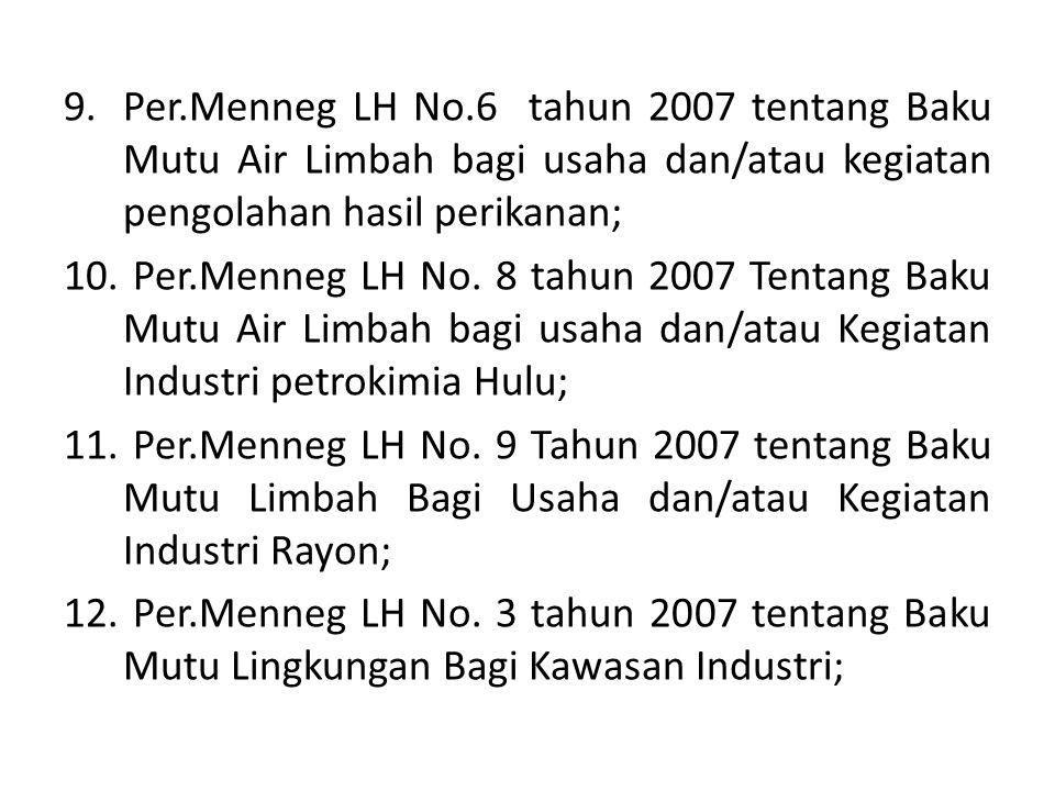 9.Per.Menneg LH No.6 tahun 2007 tentang Baku Mutu Air Limbah bagi usaha dan/atau kegiatan pengolahan hasil perikanan; 10. Per.Menneg LH No. 8 tahun 20