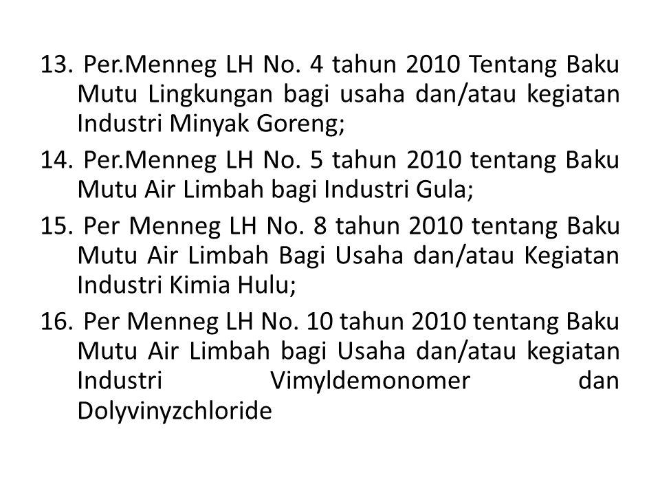 13. Per.Menneg LH No. 4 tahun 2010 Tentang Baku Mutu Lingkungan bagi usaha dan/atau kegiatan Industri Minyak Goreng; 14. Per.Menneg LH No. 5 tahun 201