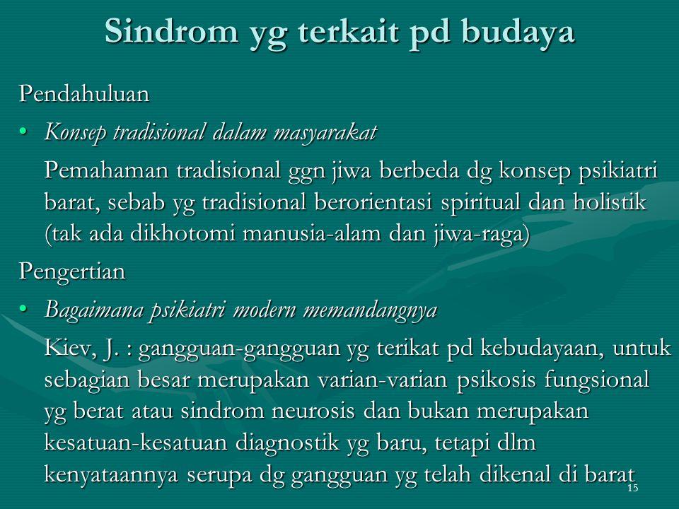 15 Sindrom yg terkait pd budaya Pendahuluan Konsep tradisional dalam masyarakatKonsep tradisional dalam masyarakat Pemahaman tradisional ggn jiwa berb