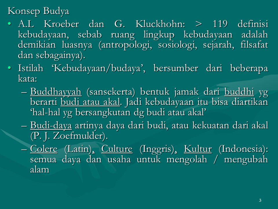 3 Konsep Budya A.L Kroeber dan G. Kluckhohn: > 119 definisi kebudayaan, sebab ruang lingkup kebudayaan adalah demikian luasnya (antropologi, sosiologi