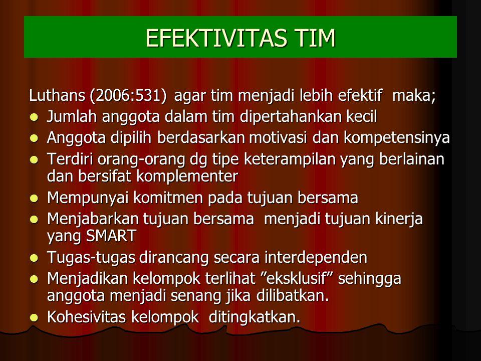 EFEKTIVITAS TIM Luthans (2006:531) agar tim menjadi lebih efektif maka; Jumlah anggota dalam tim dipertahankan kecil Jumlah anggota dalam tim dipertah