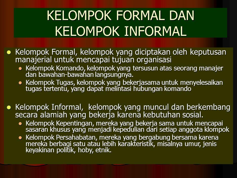 KELOMPOK FORMAL DAN KELOMPOK INFORMAL Kelompok Formal, kelompok yang diciptakan oleh keputusan manajerial untuk mencapai tujuan organisasi Kelompok Fo
