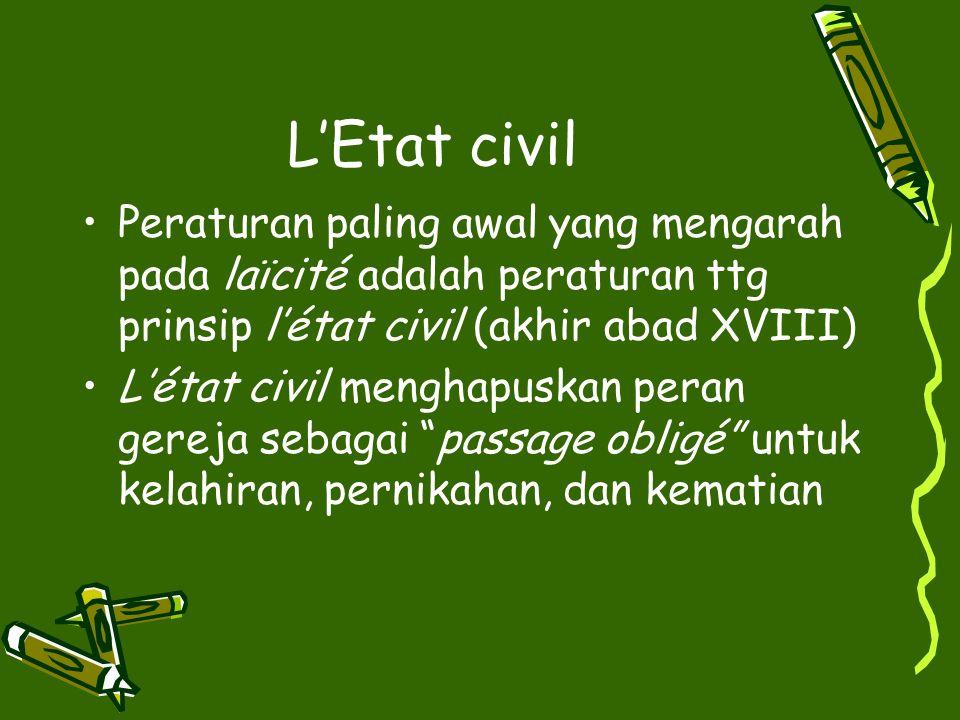 L'Etat civil Peraturan paling awal yang mengarah pada laїcité adalah peraturan ttg prinsip l'état civil (akhir abad XVIII) L'état civil menghapuskan p