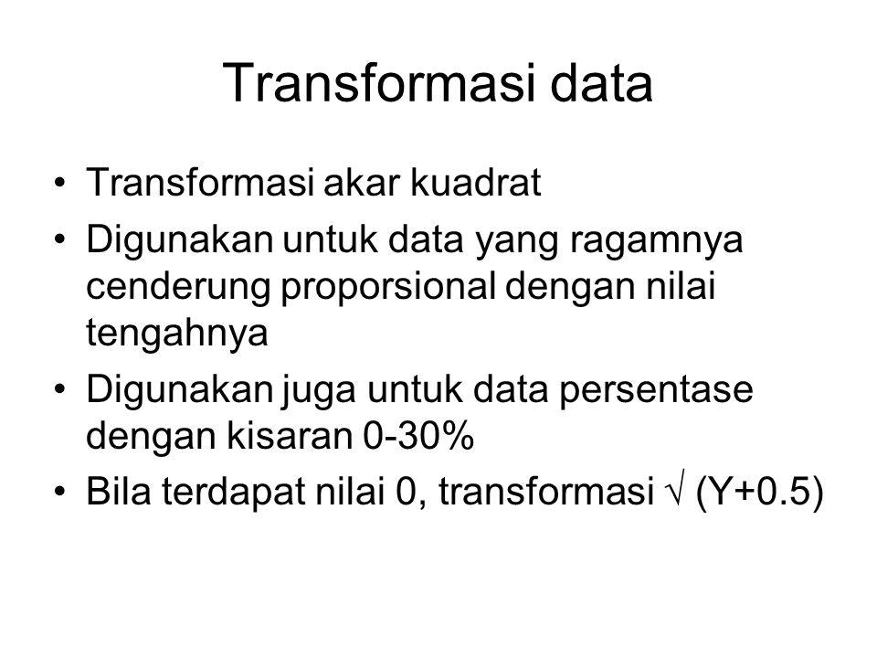 Transformasi data Transformasi akar kuadrat Digunakan untuk data yang ragamnya cenderung proporsional dengan nilai tengahnya Digunakan juga untuk data persentase dengan kisaran 0-30% Bila terdapat nilai 0, transformasi √ (Y+0.5)