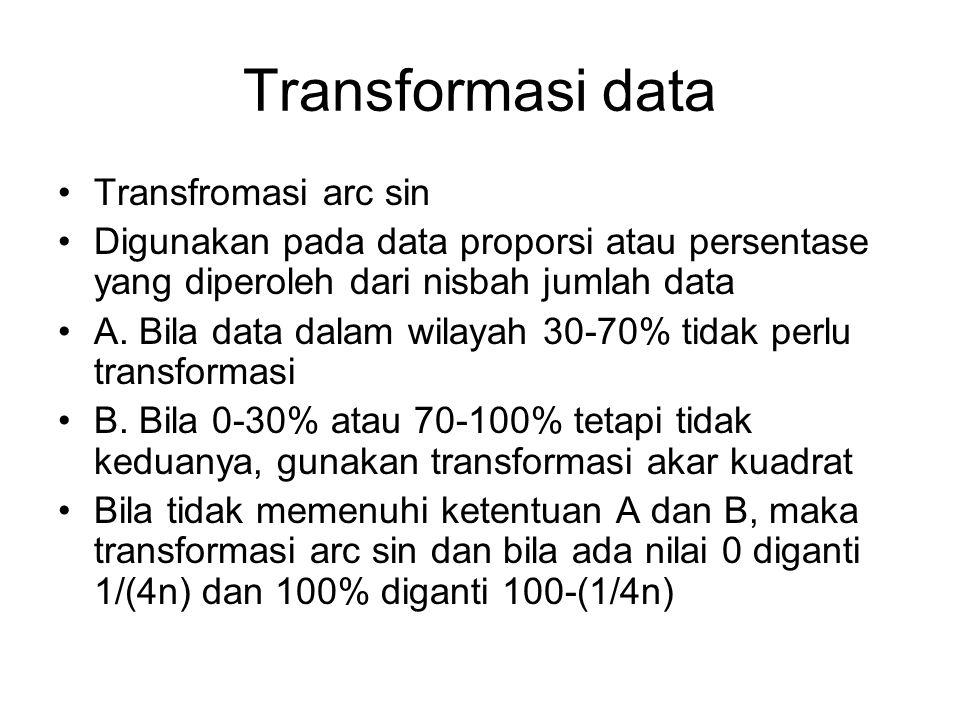 Transformasi data Transfromasi arc sin Digunakan pada data proporsi atau persentase yang diperoleh dari nisbah jumlah data A. Bila data dalam wilayah