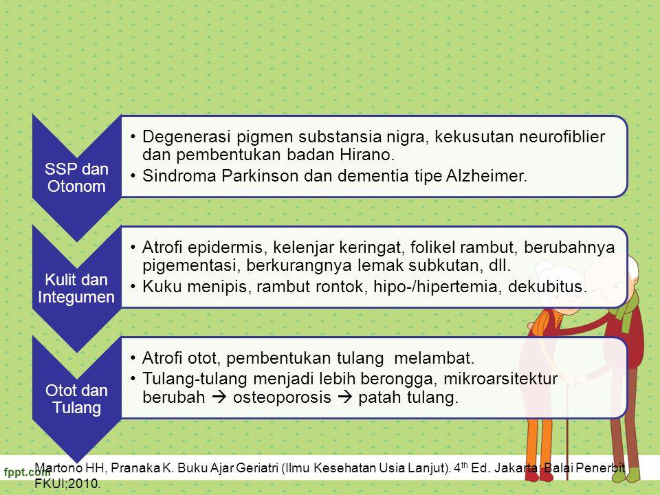 SSP dan Otonom Degenerasi pigmen substansia nigra, kekusutan neurofiblier dan pembentukan badan Hirano. Sindroma Parkinson dan dementia tipe Alzheimer