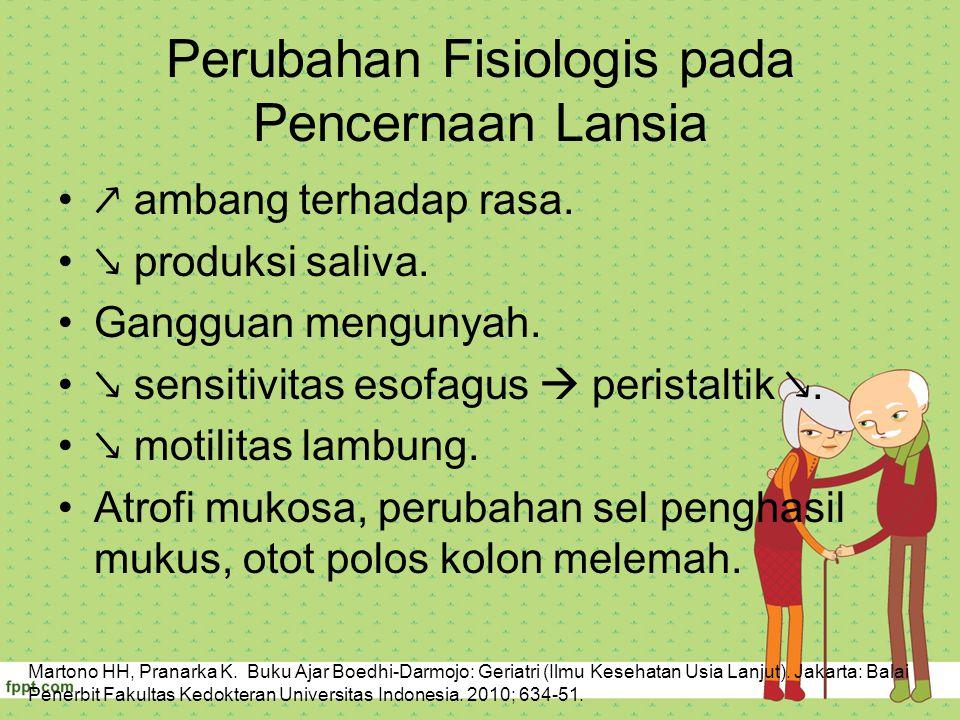 Perubahan Fisiologis pada Pencernaan Lansia ↗ ambang terhadap rasa. ↘ produksi saliva. Gangguan mengunyah. ↘ sensitivitas esofagus  peristaltik ↘. ↘