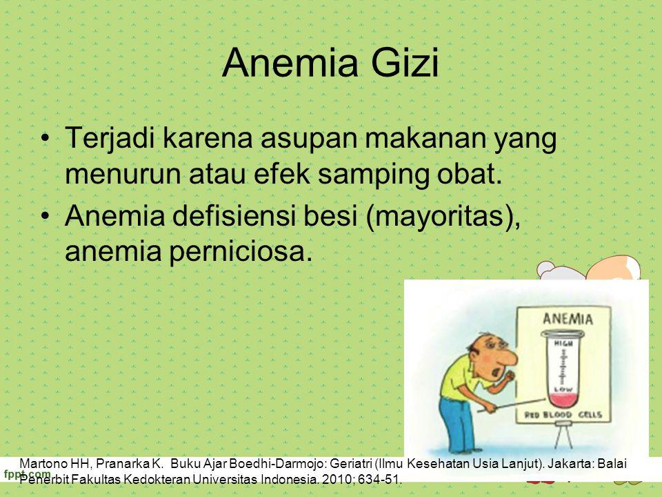 Anemia Gizi Terjadi karena asupan makanan yang menurun atau efek samping obat. Anemia defisiensi besi (mayoritas), anemia perniciosa. Martono HH, Pran