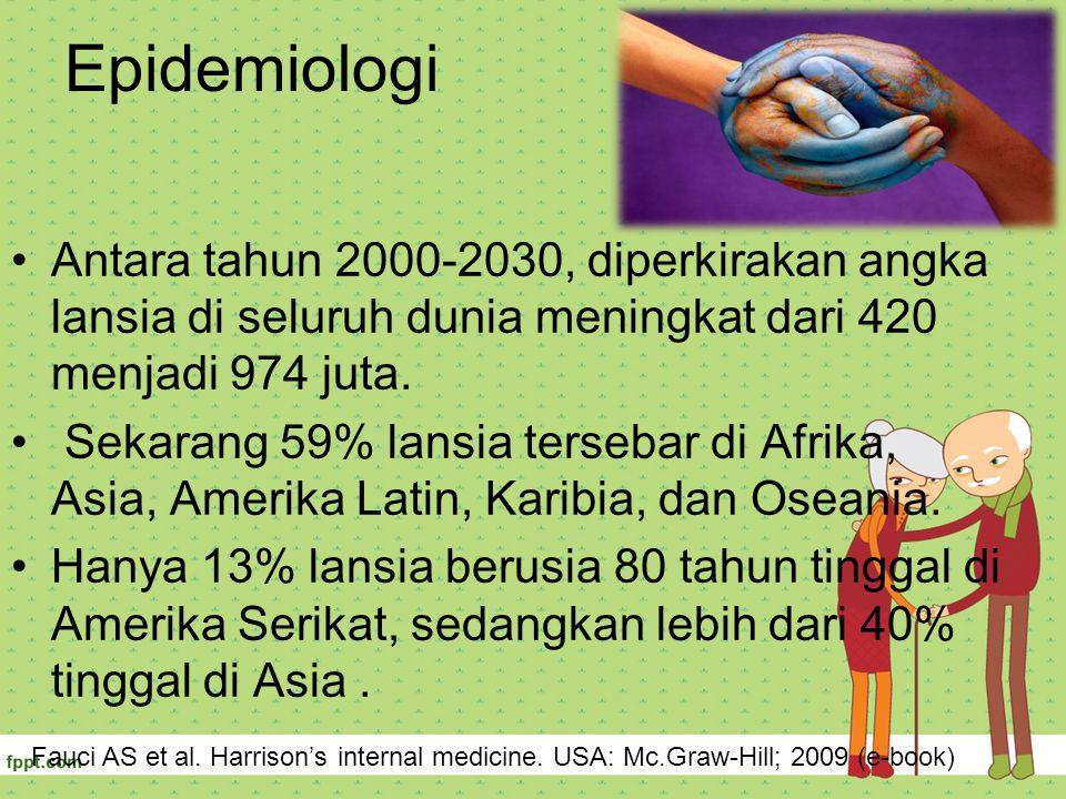 Epidemiologi Antara tahun 2000-2030, diperkirakan angka lansia di seluruh dunia meningkat dari 420 menjadi 974 juta. Sekarang 59% lansia tersebar di A