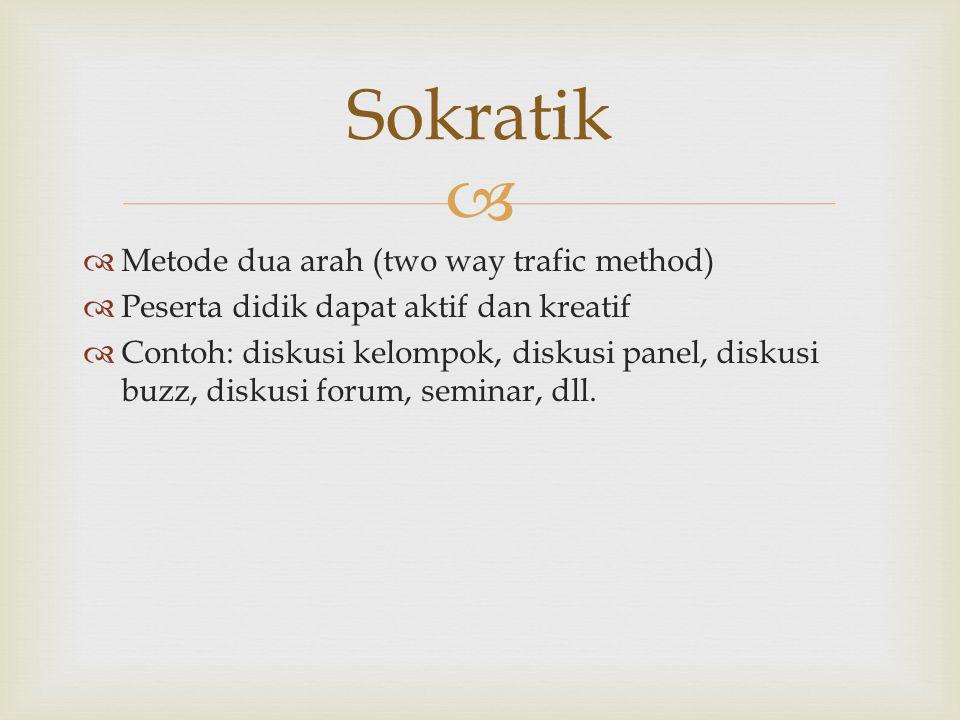   Metode dua arah (two way trafic method)  Peserta didik dapat aktif dan kreatif  Contoh: diskusi kelompok, diskusi panel, diskusi buzz, diskusi forum, seminar, dll.