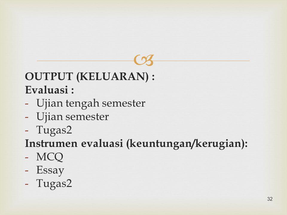  32 OUTPUT (KELUARAN) : Evaluasi : -Ujian tengah semester -Ujian semester -Tugas2 Instrumen evaluasi (keuntungan/kerugian): -MCQ -Essay -Tugas2