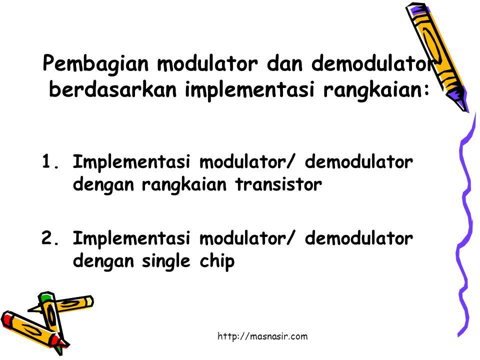 http://masnasir.com Pembagian modulator dan demodulator berdasarkan implementasi rangkaian: 1.Implementasi modulator/ demodulator dengan rangkaian transistor 2.Implementasi modulator/ demodulator dengan single chip