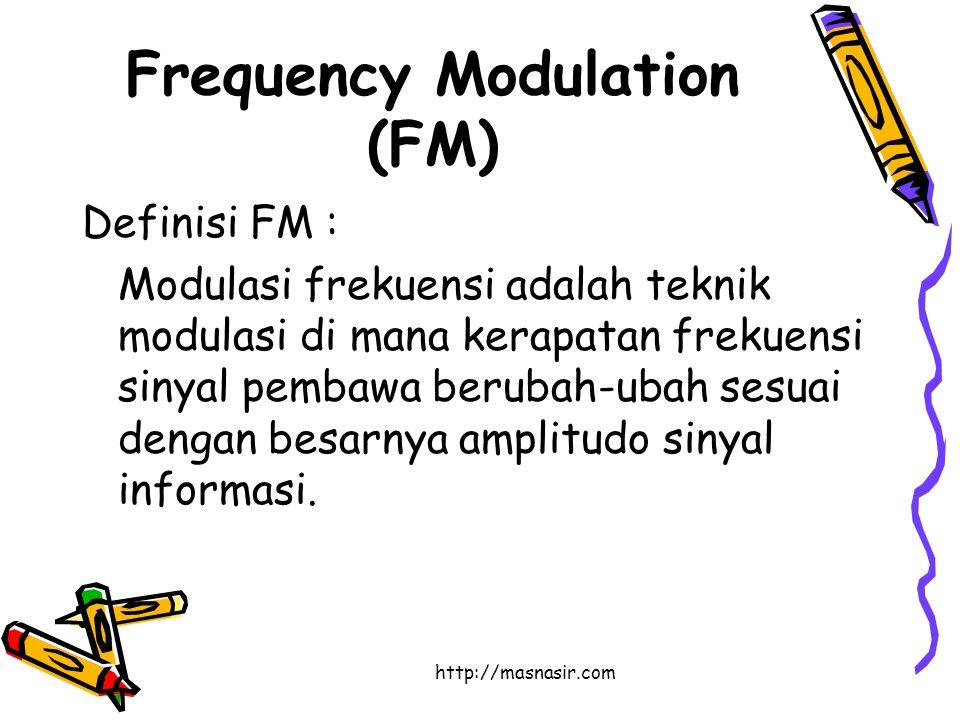 http://masnasir.com Frequency Modulation (FM) Definisi FM : Modulasi frekuensi adalah teknik modulasi di mana kerapatan frekuensi sinyal pembawa berubah-ubah sesuai dengan besarnya amplitudo sinyal informasi.