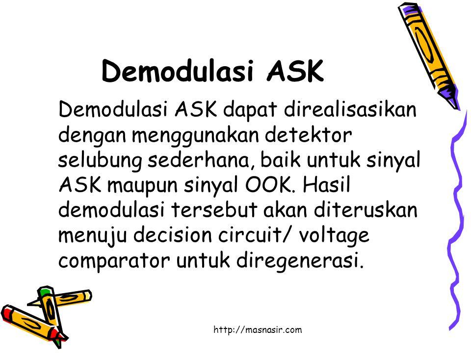 http://masnasir.com Demodulasi ASK Demodulasi ASK dapat direalisasikan dengan menggunakan detektor selubung sederhana, baik untuk sinyal ASK maupun sinyal OOK.