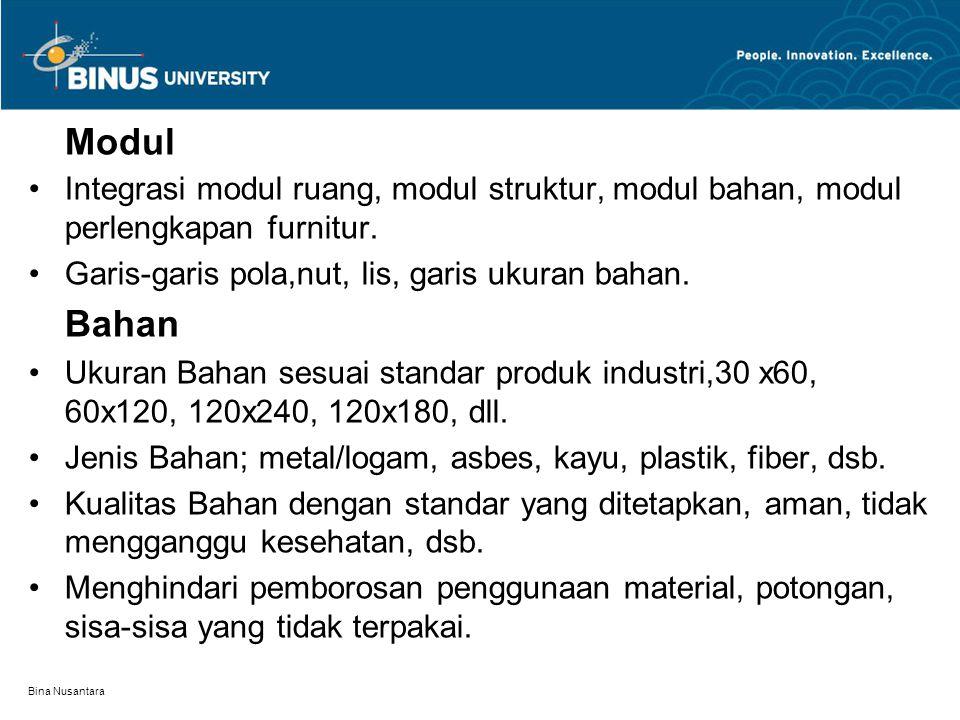 Bina Nusantara Modul Integrasi modul ruang, modul struktur, modul bahan, modul perlengkapan furnitur. Garis-garis pola,nut, lis, garis ukuran bahan. B