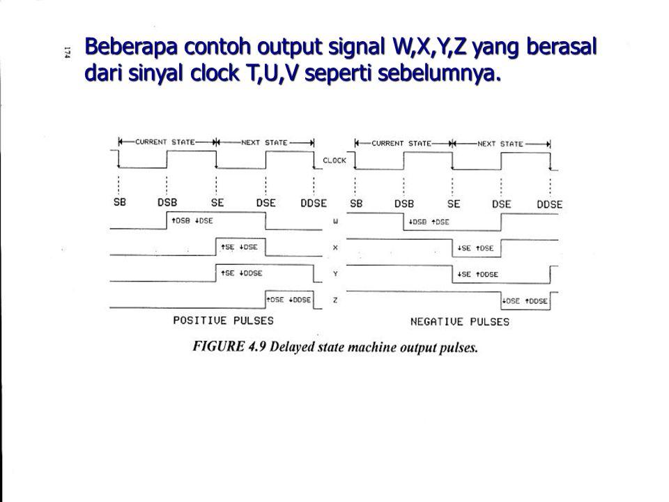 Beberapa contoh output signal W,X,Y,Z yang berasal dari sinyal clock T,U,V seperti sebelumnya.