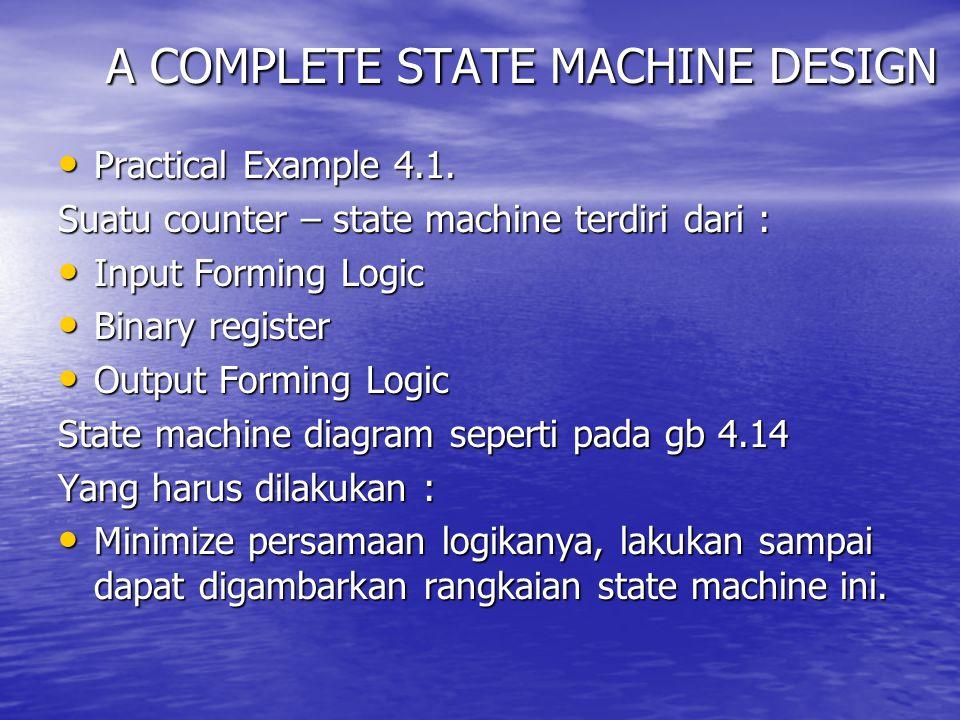 A COMPLETE STATE MACHINE DESIGN Practical Example 4.1. Practical Example 4.1. Suatu counter – state machine terdiri dari : Input Forming Logic Input F