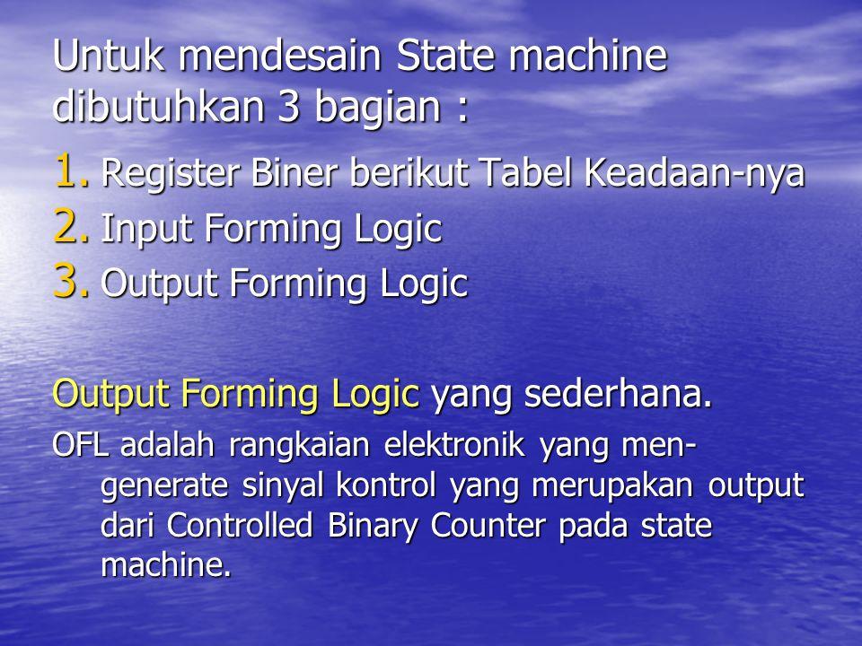 Untuk mendesain State machine dibutuhkan 3 bagian : 1. Register Biner berikut Tabel Keadaan-nya 2. Input Forming Logic 3. Output Forming Logic Output