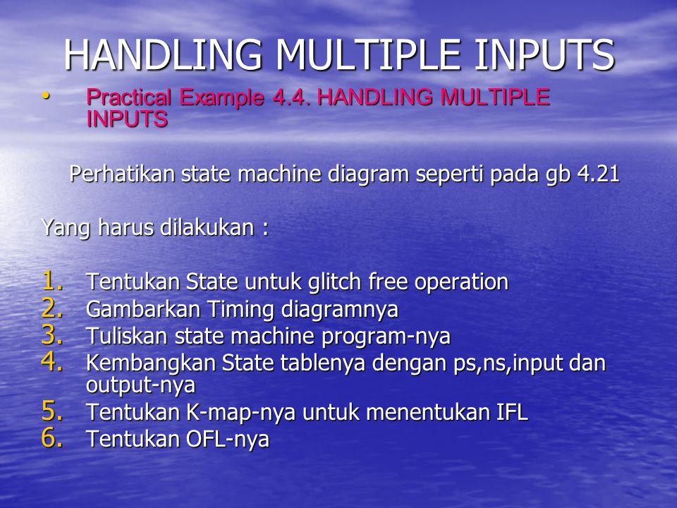 HANDLING MULTIPLE INPUTS Practical Example 4.4. HANDLING MULTIPLE INPUTS Practical Example 4.4. HANDLING MULTIPLE INPUTS Perhatikan state machine diag