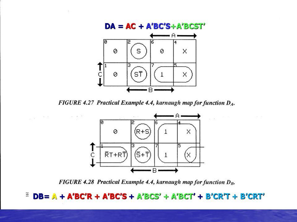 DA = AC + A'BC'S+A'BCST' DB= A + A'BC'R + A'BC'S + A'BCS' + A'BCT' + B'CR'T + B'CRT'