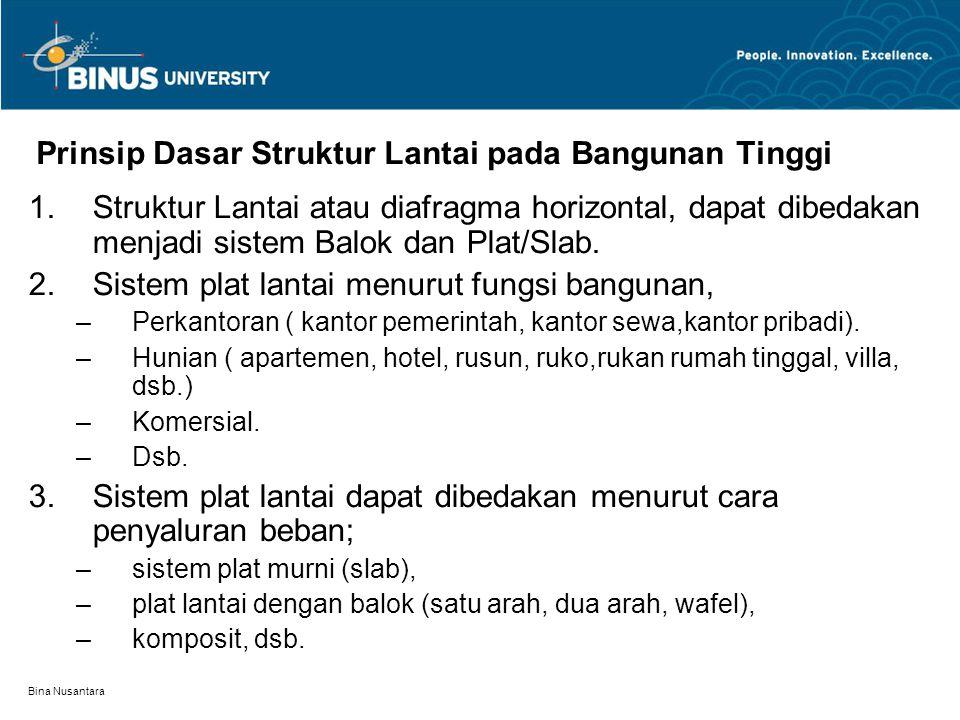 Bina Nusantara Prinsip Dasar Struktur Lantai pada Bangunan Tinggi 1.Struktur Lantai atau diafragma horizontal, dapat dibedakan menjadi sistem Balok da