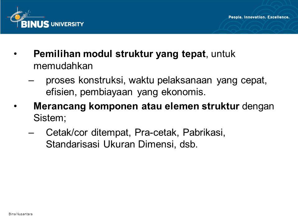 Bina Nusantara Pemilihan modul struktur yang tepat, untuk memudahkan –proses konstruksi, waktu pelaksanaan yang cepat, efisien, pembiayaan yang ekonom