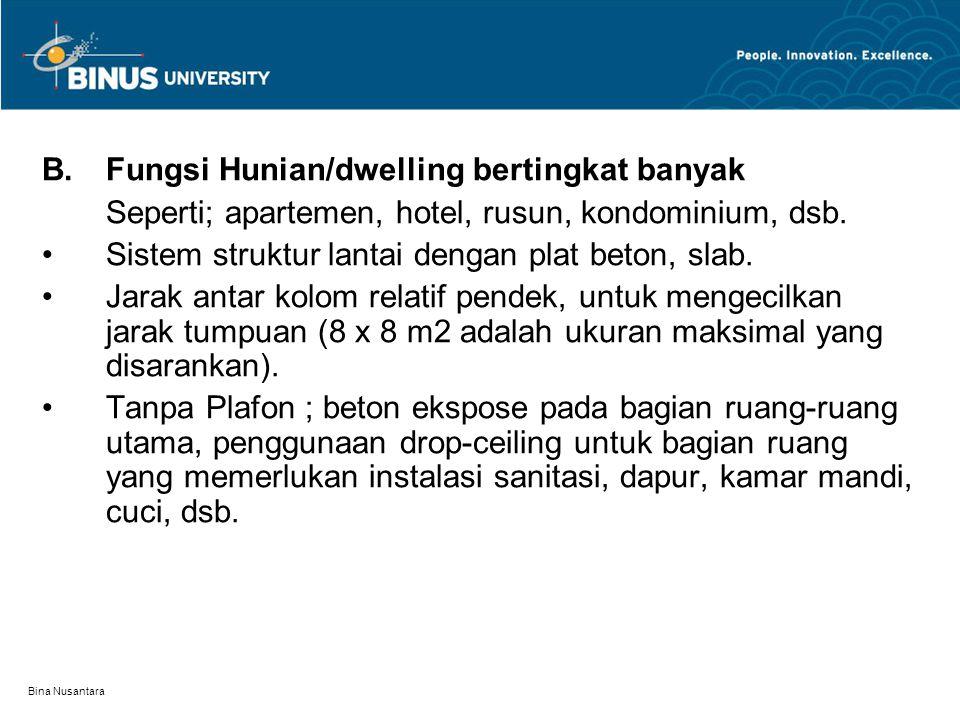 Bina Nusantara B.Fungsi Hunian/dwelling bertingkat banyak Seperti; apartemen, hotel, rusun, kondominium, dsb. Sistem struktur lantai dengan plat beton