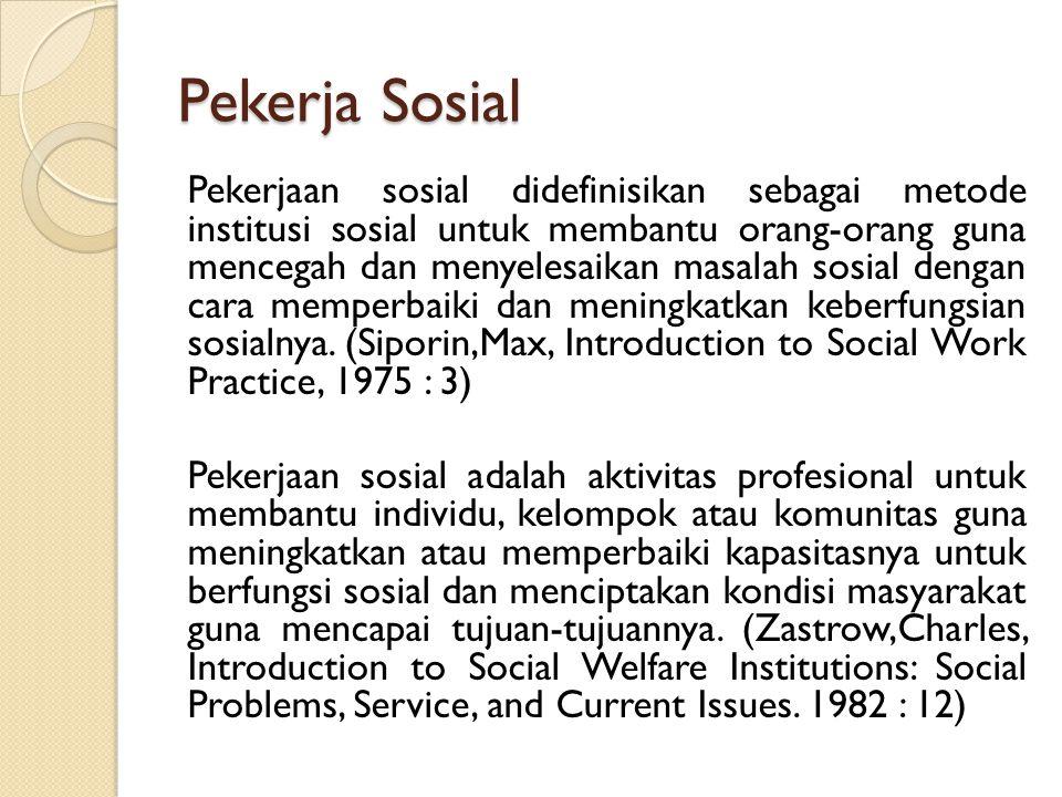 Pekerja Sosial Pekerjaan sosial didefinisikan sebagai metode institusi sosial untuk membantu orang-orang guna mencegah dan menyelesaikan masalah sosial dengan cara memperbaiki dan meningkatkan keberfungsian sosialnya.