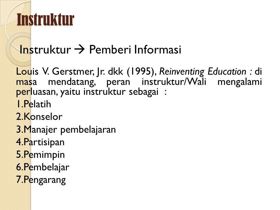 Instruktur Instruktur  Pemberi Informasi Louis V. Gerstmer, Jr. dkk (1995), Reinventing Education : di masa mendatang, peran instruktur/Wali mengalam