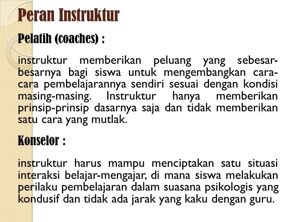Peran Instruktur Pelatih (coaches) : instruktur memberikan peluang yang sebesar- besarnya bagi siswa untuk mengembangkan cara- cara pembelajarannya se