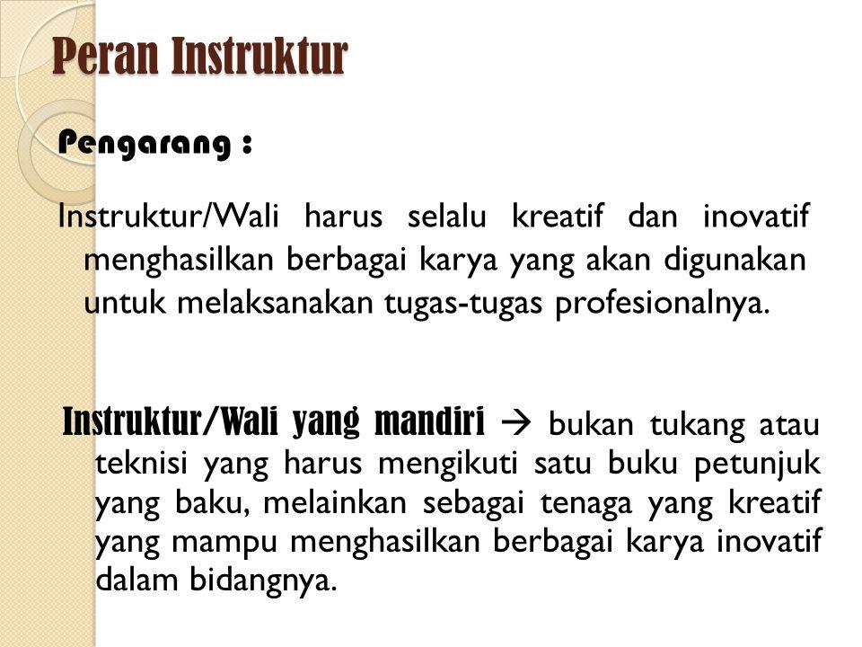 Peran Instruktur/Wali Instruktur /Wali  Transfer pengetahuan  Instruktur /Wali adalah seorang GURU Guru yang baik : sabar pintar bisa transfer ilmu dan bikin murid-muridnya paham kreatif humoris berpengetahuan luas rendah hati dan bisa menerima kesalahan diri sendiri berpikiran terbuka