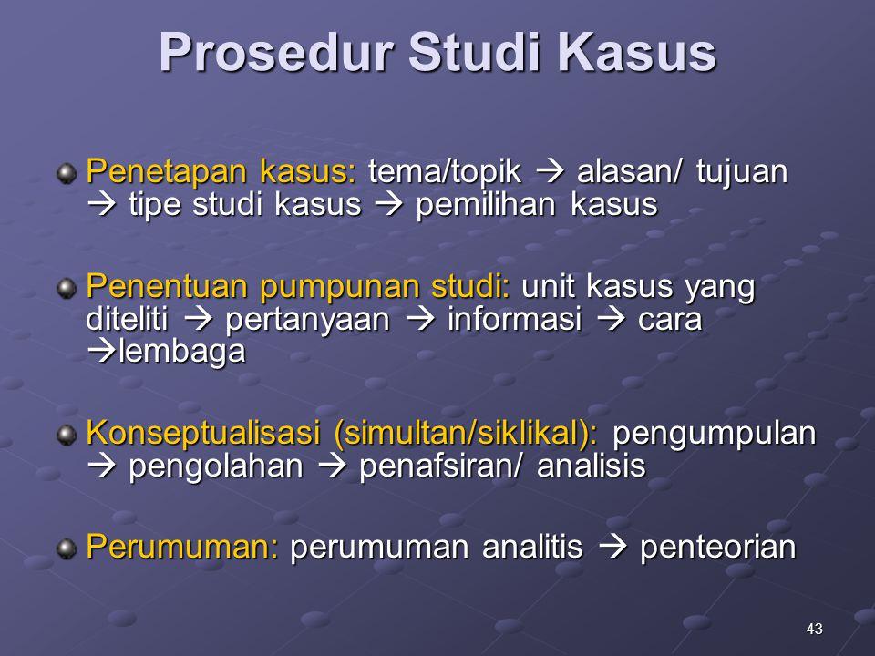 43 Prosedur Studi Kasus Penetapan kasus: tema/topik  alasan/ tujuan  tipe studi kasus  pemilihan kasus Penentuan pumpunan studi: unit kasus yang di