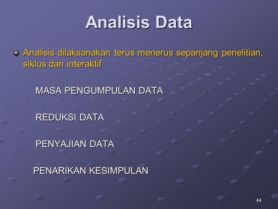 44 Analisis Data Analisis dilaksanakan terus menerus sepanjang penelitian, siklus dan interaktif MASA PENGUMPULAN DATA MASA PENGUMPULAN DATA REDUKSI D